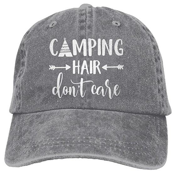 3b269499d28 Camping Hair Don t Care Printed Baseball Cap